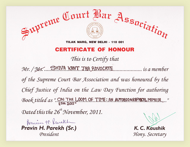 SC Certificate of Honour given to Mr Shiva Kant Jha